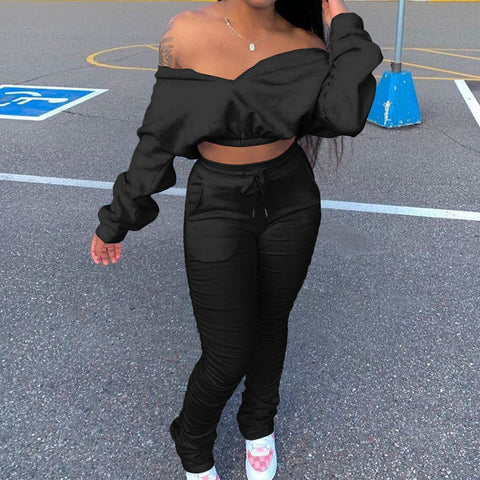 Heysweeta  V-neck Crop Tops and Sweat Pants Two Pieces Outfit