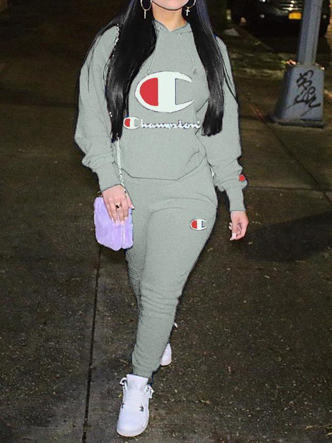 Letters Print Two Pieces Sweatsuit