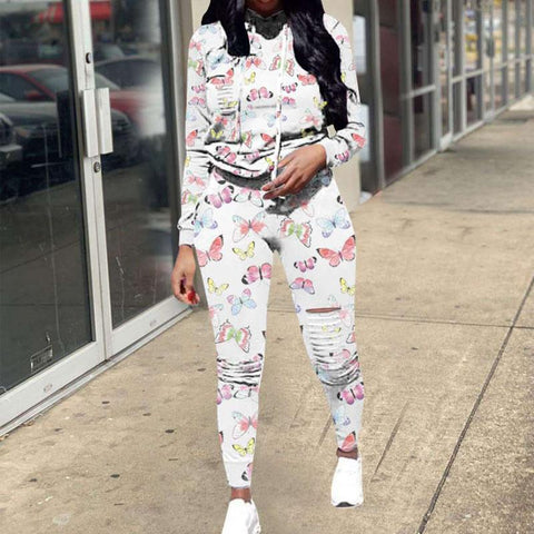 Heysweeta women Hoodie and Sweat Pants Two Pieces Butterfly Printing Women Sweatsuits