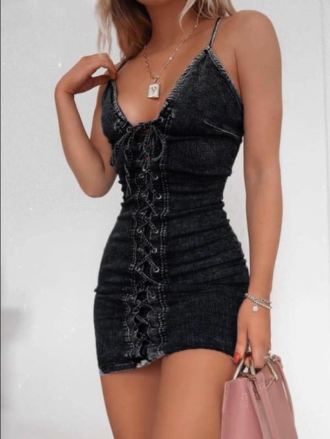 Heysweeta Denim Mini Dress Bandage Dress Women Slip Dress