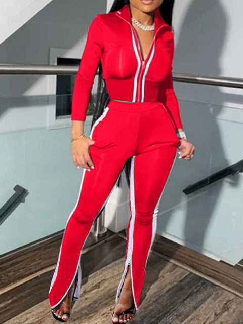 Heysweeta 2020 Outfits Women Crop Tops and Split Pants Two Pieces Outfit