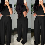 Heysweeta Crop Tops and Wide Leg Women Outfit