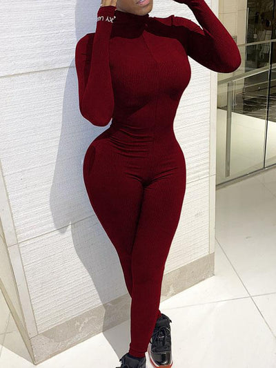 Heysweeta Skinny Jumpsuit Women Jumpsuit Long Sleeves Jumpsuit