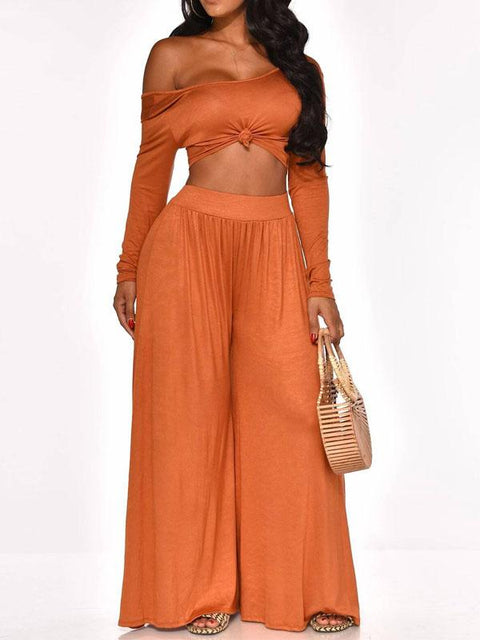Heysweeta Women Crop Tops and Casual Pants Two Pieces Autumn and Winter Outfits
