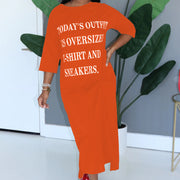 Heysweeta Letters Printing Women T-shirt Dress Midi Dress