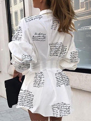 Heysweeta Letters Printing Women Long Shirt Dress Shirt