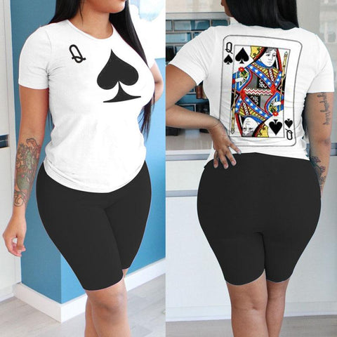Heysweeta  Pooker Printing Women T-shirt and Knee Length Shorts Two Pieces Outfits