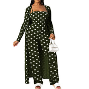 Heysweeta women Spots Printing Women Jumpsuit and cardigan Cover-up Jumpsuit Set
