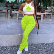 Heysweeta Sleeveless Crop Tops and Women Pants Two Pieces Outfit