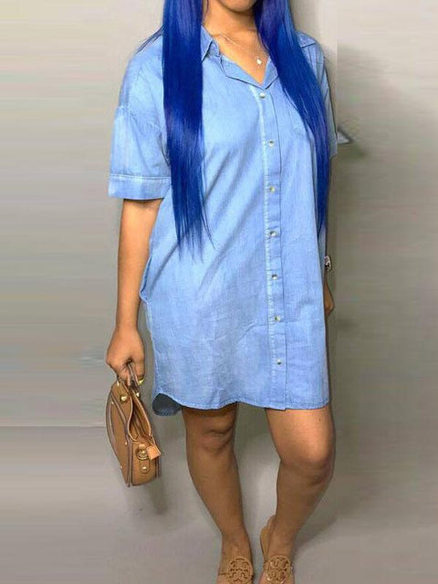 Heysweeta women Mini Dress Blue Shirt Dress
