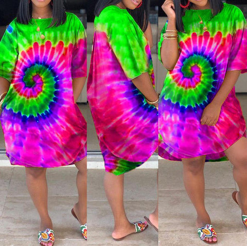 Heysweeta Multicolor Printing Women Long T-shirt Dress