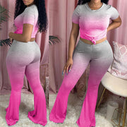 Heysweeta Women Outfits Crop Tops and Flare Pants Gradient Outfits Yoga Outfits Gradient Printing Outfits