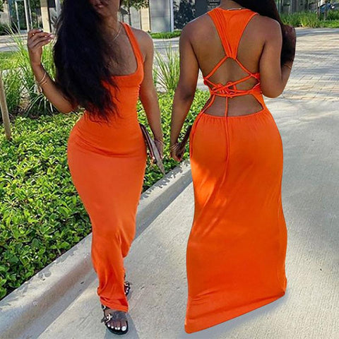 Heysweeta Women Dress Backless Dress Maxi Dress Summer Dress