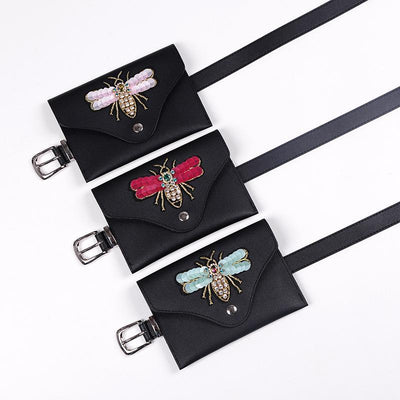 Heysweeta Cute Honeybee Decorated Women Waist Bag PU Belt