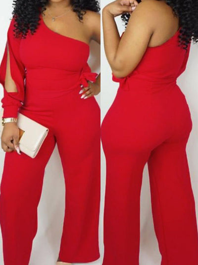 Heysweeta Women Jumpsuit  One Shoulder Jumpusit
