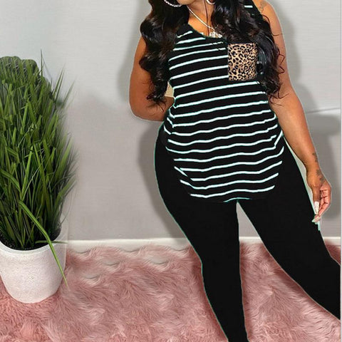 Heysweeta Striped Vest Sleeveless women Tank and Sweat pants Two Pieces Outfit