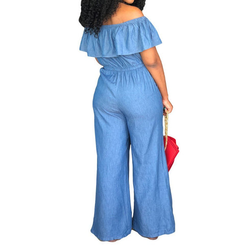 Heysweeta Off the Shoulder Flounced Women Jumpsuit