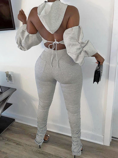 Heysweeta Hooded Halter Neckline Women Crop Tops and Skinny Pants Two Pieces Outfits
