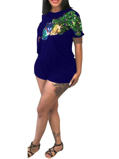 Sequined Peacock Shorts Set
