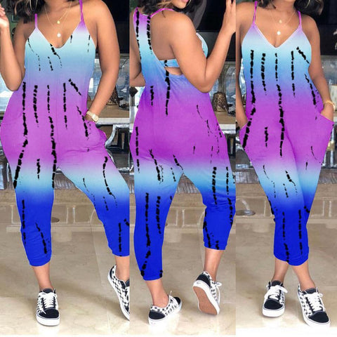 Fashion Print Strap Jumpsuit