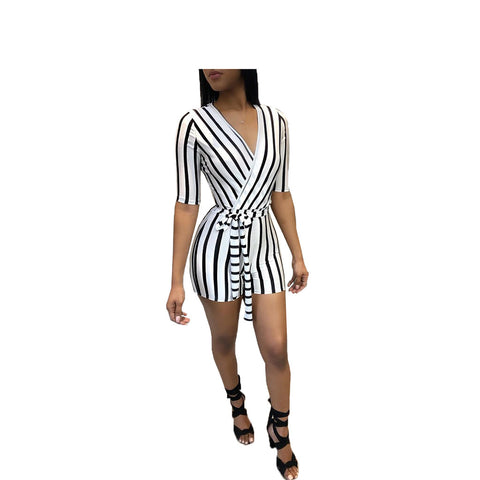 Heysweeta Striped Romper One Piece Women Romper V-neck Rompersuit