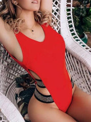 One Piece Solid Bathing Suit Swimsuit