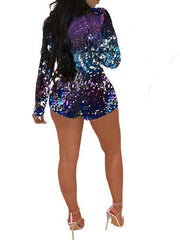 Sequined Long Sleeve Sexy Romper Suit