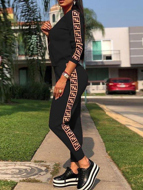 F Letters Print Two Pieces Sweatsuit