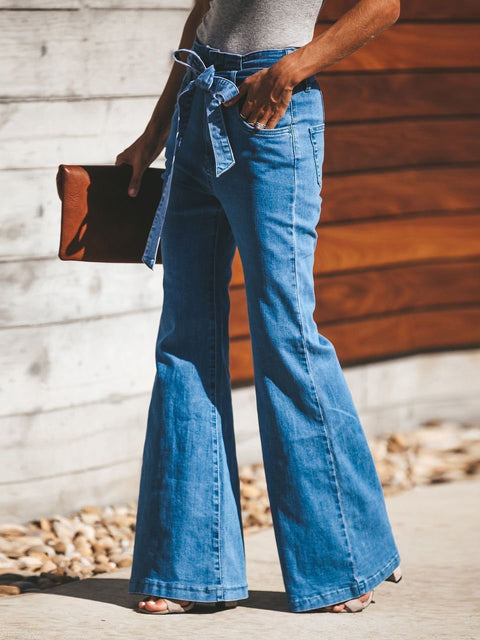 Women Wide Leg Jeans with Belt