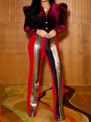 Sequined Patchwork Women Flared Pants