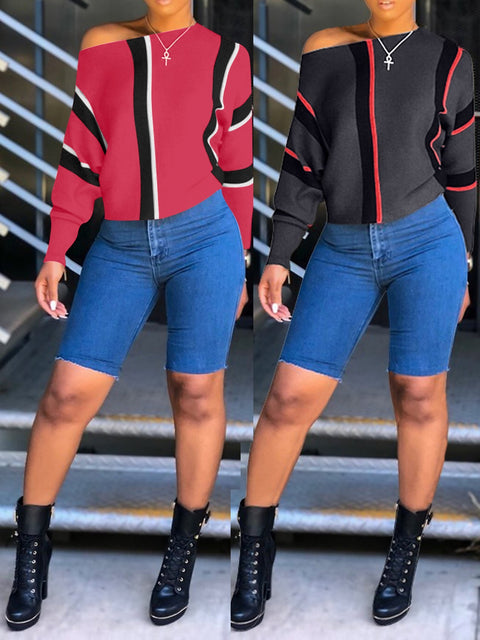 Striped Women Long Sleeves Tops