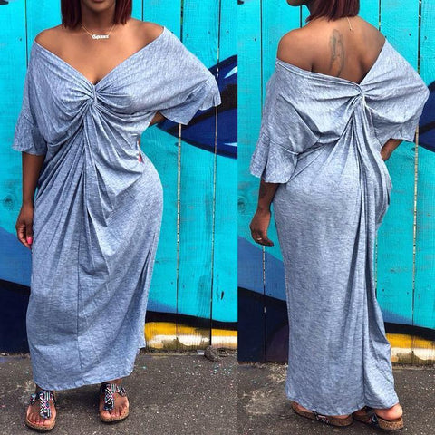 V-neck Casual Maxi Dress