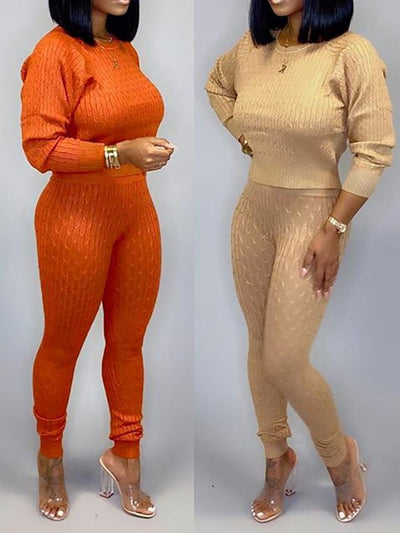 Heysweeta Winter Crop Tops Sweater and Knitting Pants Sets