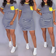 Heysweeta Striped and Patchwork T-shirt Dress