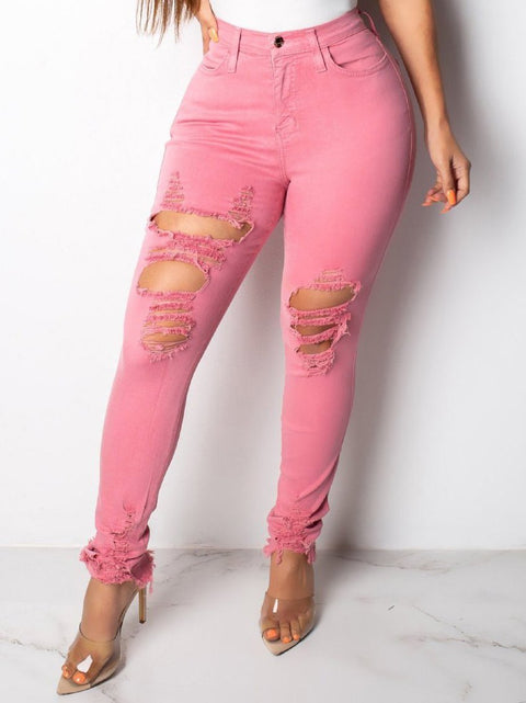 Solid Denim Ripped Holes Jeans