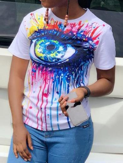 Stylish Eyes Print T-shirt
