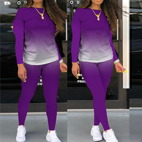 Heysweeta Gradient Printing Women Hoodie and Sweat Pants Two Pieces Autumn Outfit Sports Outfit