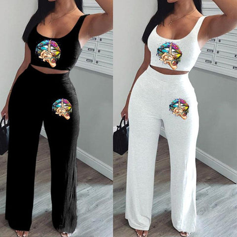 Heysweeta 2020 Women Tank Tops and Wide Leg Pants Two Pieces Women Outfit