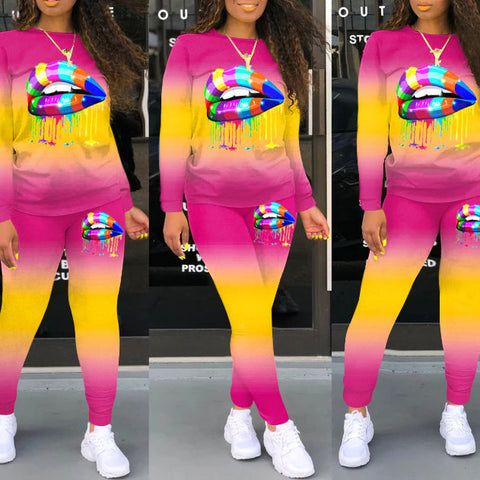 Heysweeta Gradient Printing Women Hoodie and Sweat Pants Two Pieces Outfits