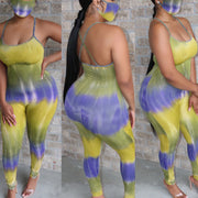 Heysweeta  striped Jumpsuit Plus size Jumpsuit(with face mask)