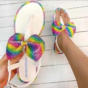 Heysweeta Colorful Bowknot Cute women sandals Flat Sandals