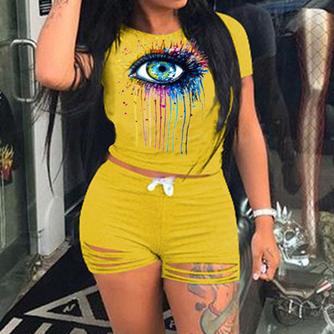 Heysweeta Smart Eyes Printing Women T-shirt and Shorts Two Pieces Outfits