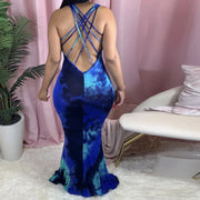 Heysweeta Multicolors Printing Women Dress Maxi Dress Backless Maxi Dress