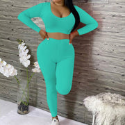 Heysweeta V-neck Crop Tops and Women Pants Two Pieces Outfits