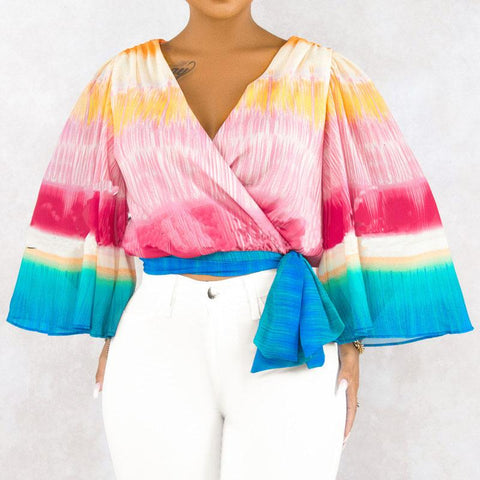 Heysweeta  Women Tops V-neck Flare Sleeve Women Tops Rainbow Printing Tops