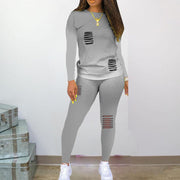 Heysweeta 2020 Autumn women Outfit Long Sleeves Women T-shirt and Broken Holes Pants Women Outfit