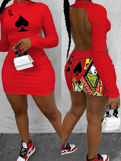 Heysweeta Long Sleeves Backless Women Mini Dress Black Heart Printing Mini dress