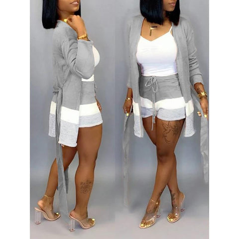 Heysweeta Striped Women Outerwear & Shorts Two Pieces Set