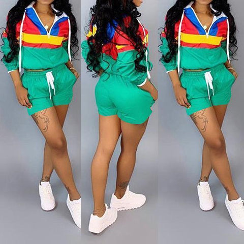 Patchwork Two Piece Shorts Set