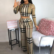 Heysweeta Plaid Printing Women Crop Tops and Wide Leg Pants Outift